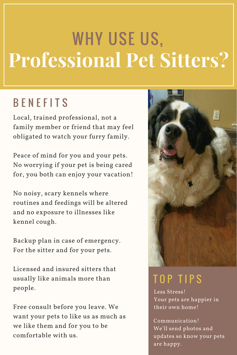 Why use professional Memphis pet sitters? Less stress! Your pets are happier in their own home. Communication! We'll send photos and updates, so you know your pets are happy. Local, trained professional, not a family member or friend that may feel obligated to watch your furry family. Peace of mind for you and your pets. No worrying if your pet is being cared for, you both can enjoy your vacation! No noisy, scary kennels where routines and feedings will be altered and no exposure to illnesses like kennel cough. Backup plan in case of emergency. For the sitter and for your pets. Licensed and insured sitters that usually like animals more than people. Free consult before you leave. We want your pets to like us as much as we like them and for you to be comfortable with us.